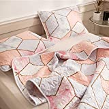 Pink Marble Quilt Set Geometric Marble Bedspread Pink Peach Marble Texture Reversible Design Geometric Quilt Coverlet Bedding King 1 Quilt 2 Pillowcases (King, Pink)