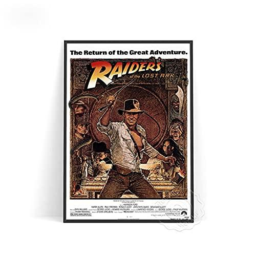 shuimanjinshan Película Indiana Jones Cartel Vintage Lienzo Pintura Carteles e Impresiones Cuadro de Arte de Pared para decoración del hogar (Pr-2347) 50x70cm Sin Marco