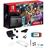 Newest Nintendo Switch Console with Neon Blue and Neon Red Joy-Con + Mario Kart 8 Deluxe(Full Game Download) + 3 Month Nintendo Switch Online Individual Membership + GalliumPi Deluxe 16-in-1 Bundle