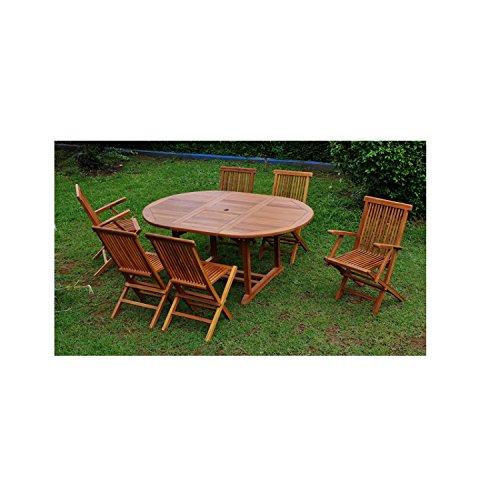 JFB Le Banten Mix: Salon de Jardin Teck huilé 6/8 pers. 4 chaises 2 fauteuils + Table Ovale huilée