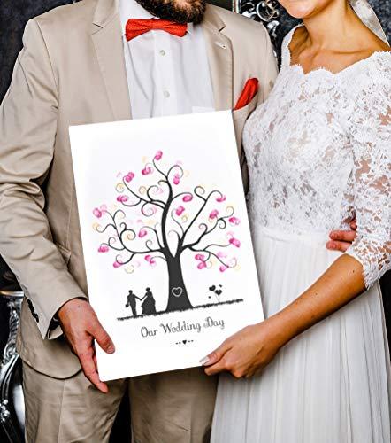 Wedding Tree Image sur toile, empreintes digitales - pour mariage Motif arbre 2, Baum 2, 30 x 45 cm