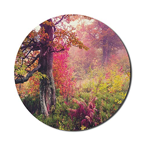 Ambesonne Forest Mouse Pad for Computers, Fairy Majestic Landscape Autumn Trees in Woodland Natural Garden in Ukraine, Round Non-Slip Thick Rubber Modern Gaming Mousepad, 8' x 8', Red Green Brown
