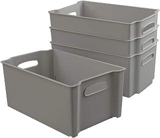 Dynko Gris Boite de Rangement Plastique sans Couvercle, Lot de 4 Caisse Rangement Plastique