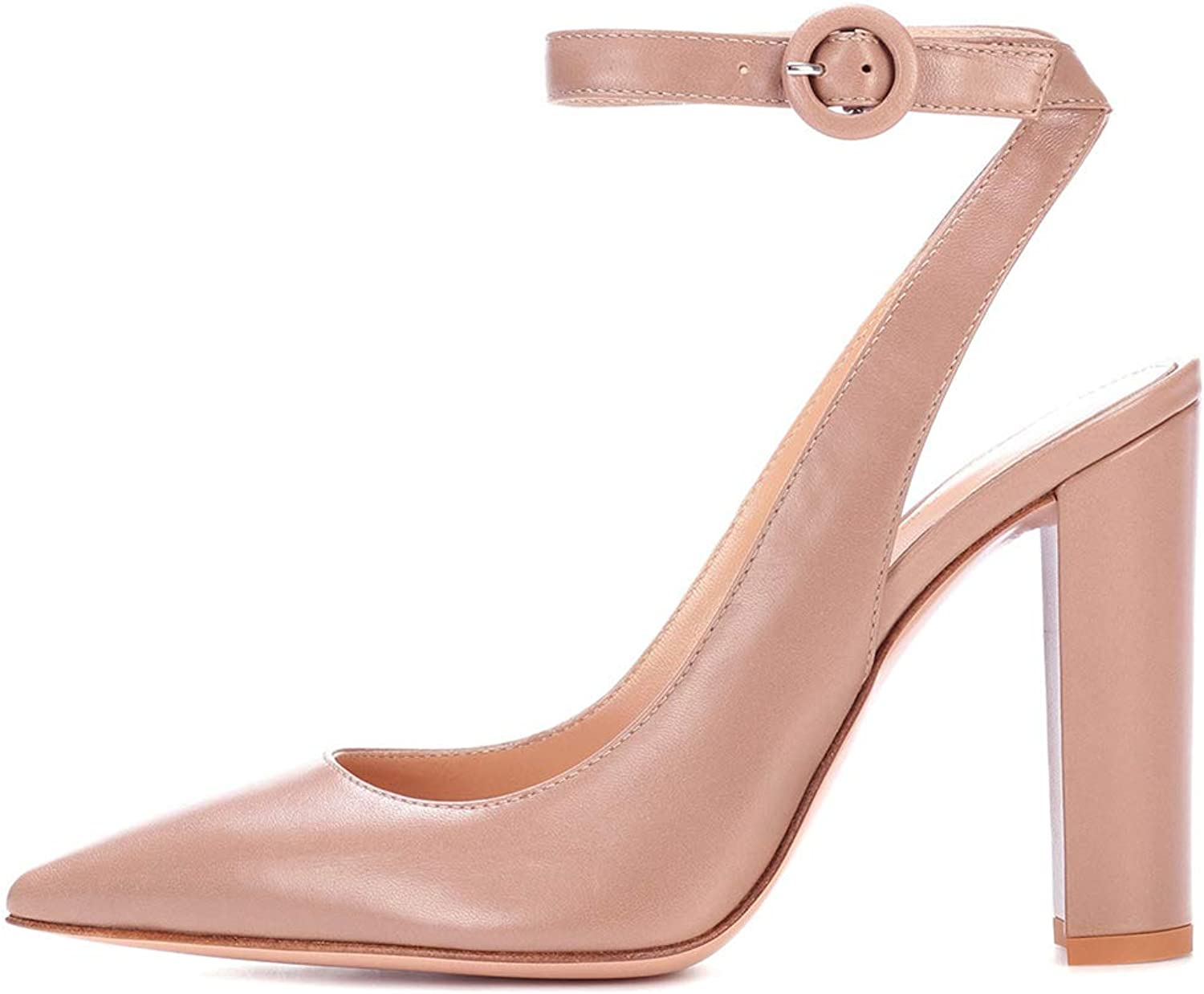 Women Pumps High Heel shoes Ankle Strap Sandals Block Heeled Buckle Pointed Toe Party Dress Evening Black Brown Court shoes Size 35-46