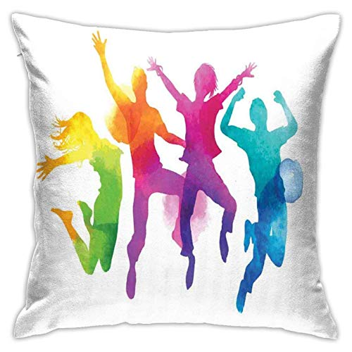 baoan Funda de cojín para funda de almohada, diseño de silueta humana en colores con impresión energética, 45,7 x 45,7 cm
