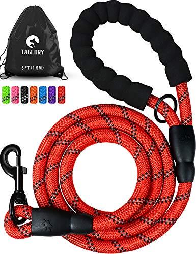 Taglory Starke Hundeleine mit Bequemen Gepolsterten Griff, 1.5M Reflektierend Trainingsleine für Klein Mittel Große Hunde, Rot