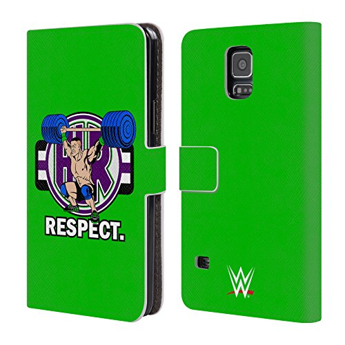 Head Case Designs Oficial WWE John Cenation Respeto 2017/18 Superestrellas 4 Carcasa de Cuero Tipo Libro Compatible con Samsung Galaxy S5 / S5 Neo