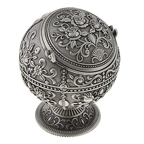 P Prettyia Mini Antik Silber Schmuck Box Aschenbecher Schmuckkästchen Schmuckschatulle Aufbewahrung - Geschenk - Zinn