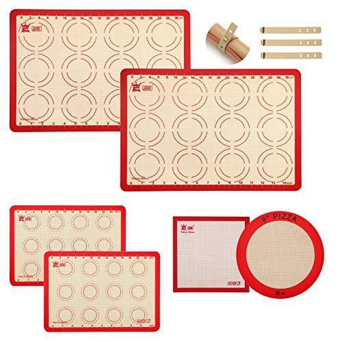 UOOGOU Silikon Backmatte Set, rutschfeste Antihafte Backunterlage Silikonmatte Ausrollmatte Teigmatte Wiederverwendbarfür Macaron/Kuchen/Brot/Pizza Matte,BPA frei,6 Stück