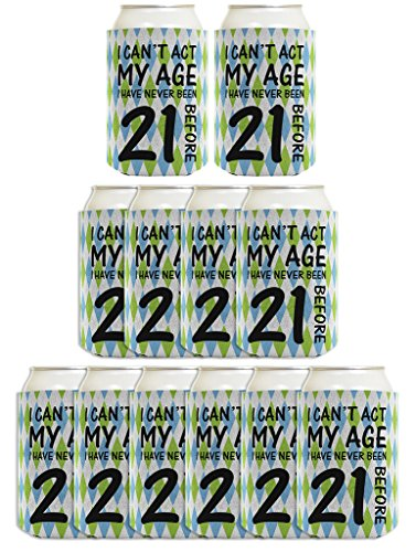 21st Birthday Gifts For All Can't Act Age Never 21 12 Pack Can Coolie Drink Coolers Coolies Argyle