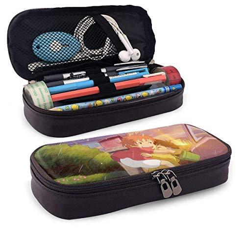 XCNGG Estuche para lápices de cuero Ponyo, estuche de papelería para estudiantes de alta capacidad, estuche para lápices, estuche para lápices portátil para útiles escolares y de oficina