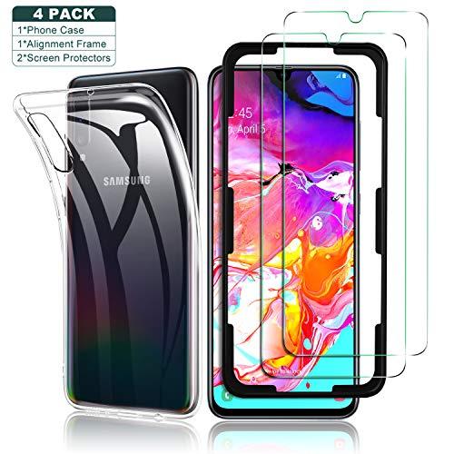 Yocktec Hülle + Panzerfolie Displayschutzfolie für Samsung Galaxy A70, 9H Gehärtetes Glas Folie mit Transparent Handyhülle Schutzhülle Soft TPU Bumper Case Cover für Samsung Galaxy A70