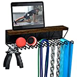 J JACKCUBE DESIGN Gym Storage Rack Organizer for Workout Equipments, Fitness Gears, Resistance Bands, Lifting Belts Rack Holder with 9 Heavy Duty Metal Hooks and Wood Shelf- MK713A