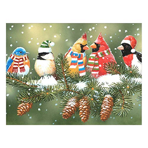 Stalente DIY Diamond Painting by Number Kits,Birds Full Round Drill 13.7X17.7 Inch Embroidery Christmas DIY Painting Set Cross Stitch Arts Crafts Supply for Home Wall Decor