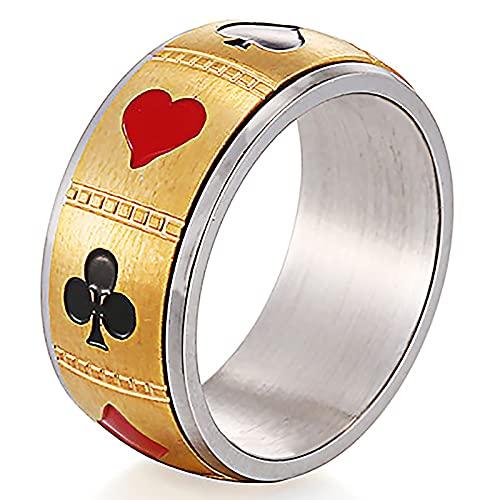 GXY&YT Naipes Spinner Ring para Hombres, Titanio Acero Cool Biker Ring Hipoalergénico Y Nunca Se Desvanece,Oro,8