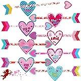 72 Tarjetas de Topper de Lápiz de Día de San Valentín Lápices de San Valentín Surtido de Tarjetas de San Valentín en Forma de Corazón para Premios de Intercambio en Aula Hogar Escuela