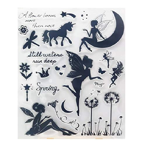 WooYangFun Craft 1pcs Fairy Moon Spring Flower Bloom Clear Stamp for Card Making Decoration and Scrapbooking 14x18cm