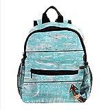 ColorMu Borsa per laptop mini zaino per borsa da viaggio da donna Piattaforma di legno dell'ancora d'annata per lavoro, scuola, all'aperto
