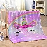 QHDHGR Mantas de Cama de Franela Patrón de Unicornio Manta de Sofás Microfibre Extra Suave Manta para Infantil Hogar Viajar 180cm * 200cm