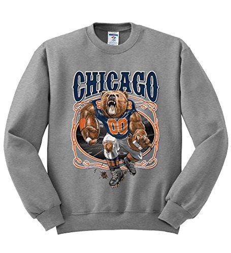 Chicago Fan | CHI Fantasy Football | Mens Sports Crewneck Graphic Sweatshirt, Heather Grey, Large