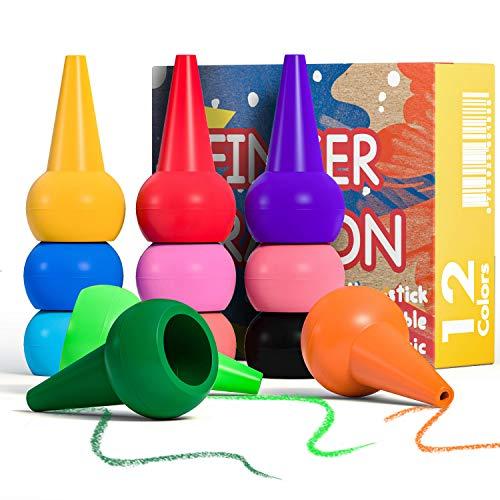PGFUNNY Kleinkinder Wachsmalstifte 12 Farben Stapelbares Handflächengriff Baby Crayons Spielzeug, Sicherheit Ungiftig Wachsmalstift und Abwaschbare Malstifte Spielzeug für Baby Kinder üben Malerei