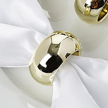 AHOLTA DESIGN Acrylic Gold Napkin Rings for Wedding Birthday Party Tableware, Great for Wedding, Party, Gift (Gold, Napkin Rings (4PCS))