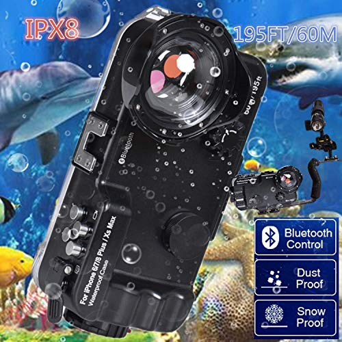 BECROWM EU Bluetooth Control iPhone Waterdichte Case, 195FT/60M IPX8 Waterdichte Professionele Duiken Onderwater Zwemmen Surfing Snorkeling case Photo Video met Wide Angle Dome Port Lens, iphone 6Plus/7Plus/8Plus/XS MAX-Black