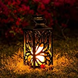 OxyLED Solar Lantern, LED Solar Garden Lights Outdoor, Hanging Butterfly Lanterns Solar Powered with Handle Waterproof, Flickering Flameless Candle Mission Lights for Table Patio Yard Pathway, 1 Pack