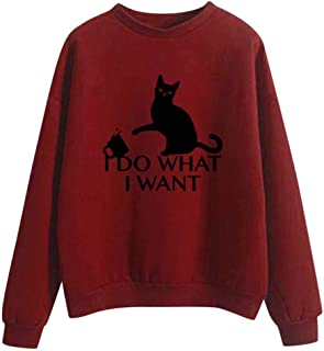 LEKODE Sweatshirt Women's Warm Crewneck Printed