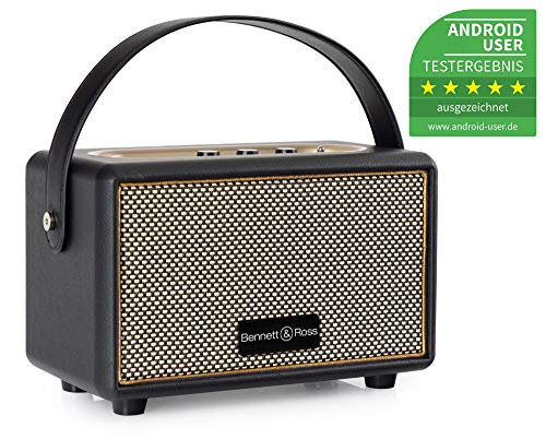 Bennett & Ross BB-820BK Blackmore Junior Version 2020 - Retro Bluetooth Lautsprecher in Lederoptik mit 5200 mAh Akku - Vintage Speaker mit 20W - MicroSD-Eingang mit MP3-Player - Aux-in - Schwarz