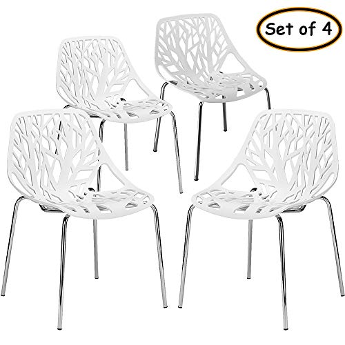 Bonnlo Modern Stackable Chair Set of 4 Kitchen Dining Chair Birch Sapling Comfy Chairs for Indoor&Outdoor Use (White)