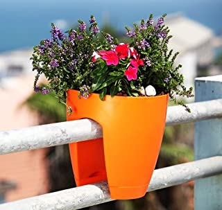 Minerva Naturals Railing Planter High Quality Plastic (Orange)
