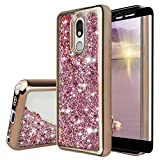 TJS Phone Case Compatible with LG K40/K12 Plus/X4/Solo LTE/Harmony 3/Xpression Plus 2, [Full Coverage Tempered Glass Screen Protector] Glitter Liquid Chrome Bump Hybrid Shockproof (Rose Gold)