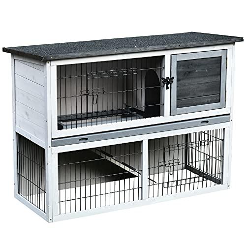 Pawhut Conejera de Madera Exterior Jaula para Conejos de 2 Pisos Rampa Bandeja Extraíble y 2 Puertas 108x45x78 cm Gris