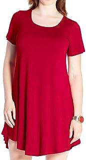 JollieLovin Women's Tunic Casual Short Sleeve Swing Loose T-Shirt Dress