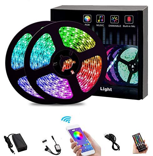 Bluetooth Led Streifen 15m,Dimmbar RGB LED Band,Ultralang LED Strip 450 LEDs 5050 SMD Lichtband Selbstklebend LED Lichtleiste Sync zur Musik,Über APP-Steuerung und Fernbedienung Für Haus,Garten 49ft