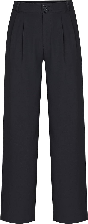 Genrics Women's Casual Loose High-Waisted Pants Black Dress Pants Trousers