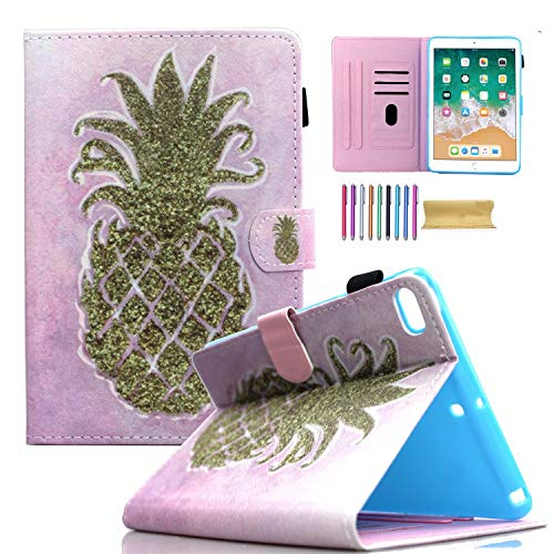 iPad Mini Wallet Case, Mini 1 2 3 4 5 Kids Case, AMOTIE PU Leather Stand Smart Case Cover with Auto Sleep/Wake for 7.9 inch Apple iPad Mini 1 / Mini 2 / Mini 3 / Mini 4/ Mini 5, Pink Pineapple