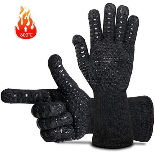 GothicBride Grillhandschuhe, Ofenhandschuhe Hitzebeständig bis zu 800 ° C, BBQ Kochen Backen und Schweißen-Klassisch Schwarz (Schwarz)