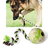 interactive ball with rope dog toy for aggressive chewers