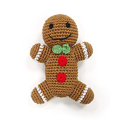 Cotton Crochet Squeaky Dog Toy - Gingerbread Man