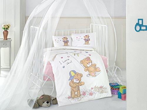 Masal V1 Rose Bears Lit pour bébé Housse de couette, 100% coton doux et Sain Parure de lit 4 pièces