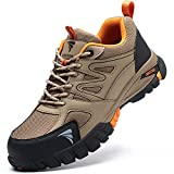 YISIQ Zapatos de Seguridad Hombre Mujer Punta de Acero Zapatos Ligero Zapatos de Trabajo Respirable Botas de Seguridad Zapatos de Industria y Construcción, Marrón, EU 39
