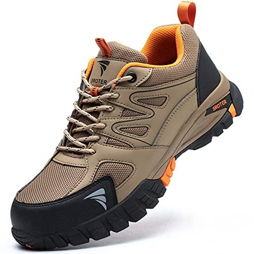 YISIQ Zapatos de Seguridad Hombre Mujer Punta de Acero Zapatos Ligero Zapatos de Trabajo Respirable Botas de Seguridad Zapatos de Industria y Construcción