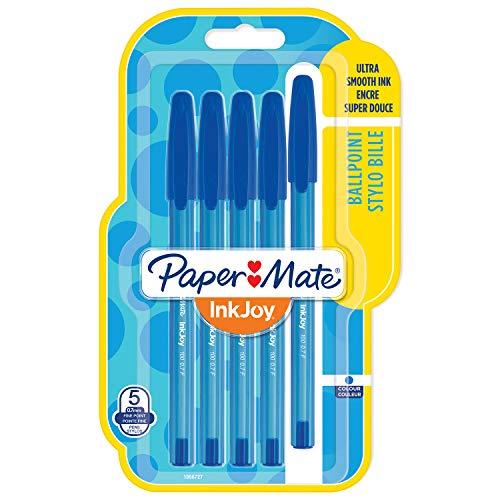 Papermate InkJoy 100ST Penne a Sfera con Cappuccio, Punta Fine da 0.7 mm, Confezione da 5, Blu