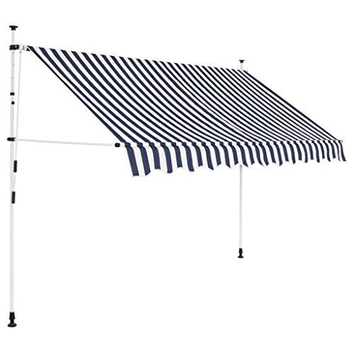 lyrlody- Auvent Rétractable avec Manivelle Manuel Hauteur Réglable Store Balcon Protection Structure en Acier Robuste Anti UV pour Fenêtre et Porte Rayures Bleues et Blanches