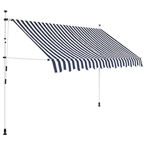 Tidyard Manual Retractable Sun Shade Patio Awning 118 Inches for Window Terrace Balcony Garden Blue and White Stripes