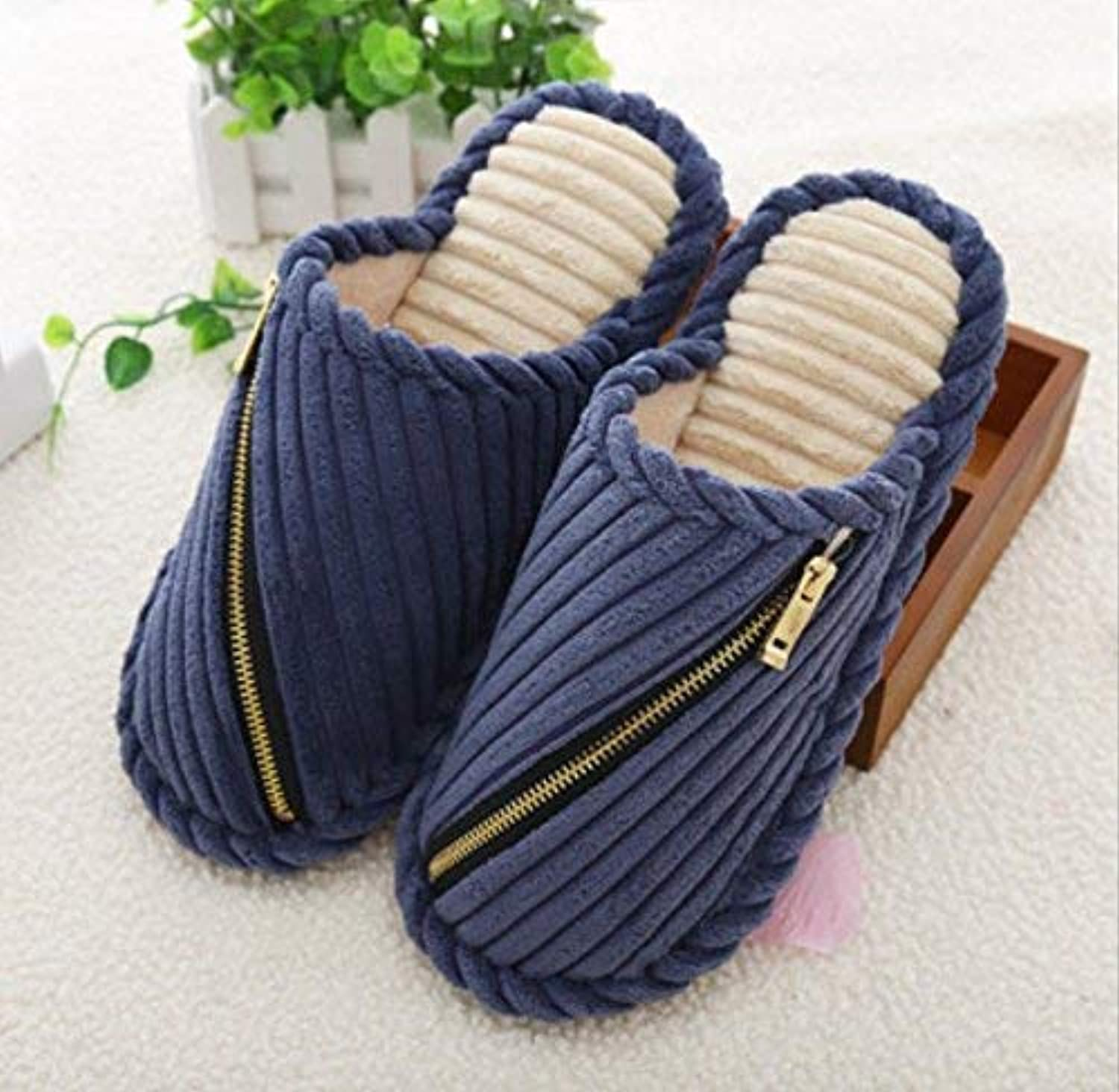 Men 's Home Cotton Slippers Indoor Slippery and Keep Warm Casual Slippers Medium for Men Solid color Purple