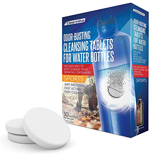 CleanHike Water Bottle Cleaning Tablets - (30 Tablets) All Natural Ingredient, Great for All Stainless, Plastics, Ceramic and Glass Drinking Containers, Individually Packed (1)
