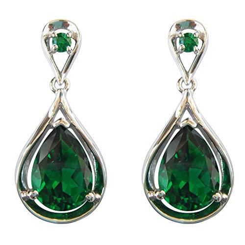 Navachi 925 Sterling Silver 18k White Gold Plated 7.1ct Square Emerald Az9720e Drop Stud Earrings